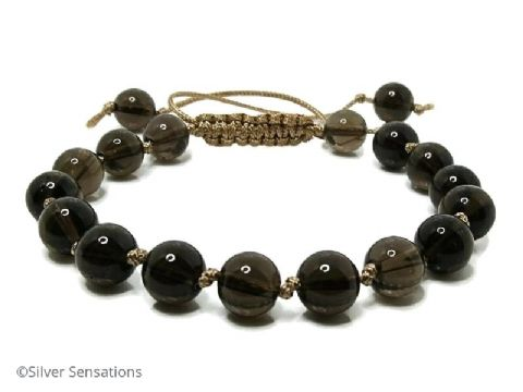 Brown Smokey Quartz Knotted Macrame Style Sliding Knot Bracelet